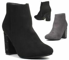 LADIES WOMENS DIAMANTE HIGH BLOCK HEEL FAUX SUEDE ZIP SHORT ANKLE BOOTS SIZE 3-8
