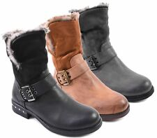 WOMENS FAUX LEATHER SUEDE FUR LINED MILITARY ARMY WORKER ZIP BUCKLE ANKLE BOOTS