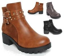 NEW WOMENS WORKER COMBAT BIKER MILITARY FLAT ZIP ANKLE BOOTS SHOES SIZE