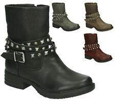 WOMENS MILITARY WORKER STUDDED BUCKLE STRAP FLAT BIKER ZIP LADIES ANKLE BOOTS