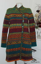 ivko Cappotto in lana giacca lunga JACQUARD ANTRACITE VERDE WOOL COAT 62518