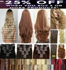 """15 18 22"""" inch AAA Real Quality Synthetic Clip In Hair Extensions Full Head"""