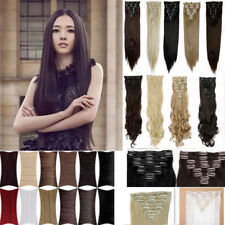 """18"""" Full Head Hair Silky Straight Extensions human feel synthetic Hair Extension"""