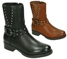 LADIES WOMENS WORKER COMBAT BIKER MILITARY FLAT ZIP ANKLE STUDS BOOTS SHOES SIZE