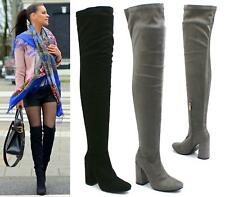 WOMENS LADIES THIGH HIGH OVER THE KNEE BOOTS ZIP UP LONG HIGH HEEL SHOES SIZE 3-