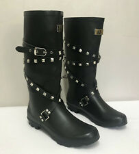 Ladies Black Studded & Strapped Wellies / Womens Wellington Boots Sizes 3 to 8