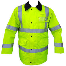 Ex Police Hi Vis Viz Waterproof Rain Traffic Coat With Badge Holders Silver Tape