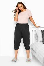 Yours Clothing Womens Plus Size Black Pyjama Bottoms Crop Lace Pj's 100% Cotton