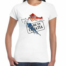 Made in Croatia - Flag and map - Ladies T Shirt - Country, Gift, Tee