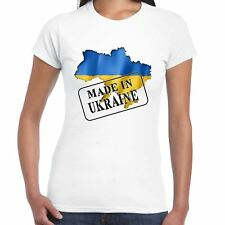 MADE IN UCRAINA - BANDIERA E MAPPA - Ladies T-Shirt - Country,regalo,Maglietta