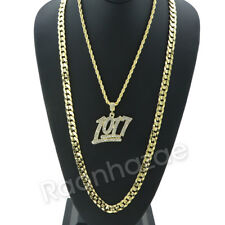 Iced MICRO NUMBER 1017 CHARM ROPE CHAIN DIAMOND CUT CUBAN CHAIN NECKLACE G65