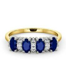 Sapphire and Diamond Eternity Ring 18k Yellow Gold Anniversary Band Certificate
