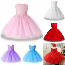 New Sleeveless Wedding Girls Dress Princess Lace Bridesmaid Party Kids Clothes