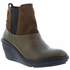 Fly London Sula 673 Olive Camel Womens Leather Wedge Ankle Chelsea Boots Booties