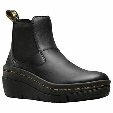 Dr.Martens Brienna Black Womens Virginia Leather Wedge Chelsea Boots