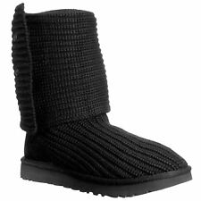 Ugg Australia Classic Cardy Black Womens Knit Cuffable Mid-Calf Casual Boots