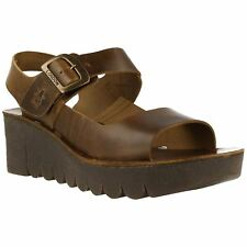 Fly London Yail 907 Camel Womens Leather Slingback Wedge Strappy Sandals