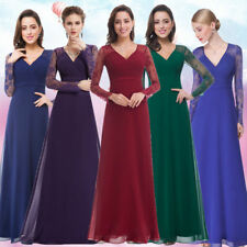 Ever-Pretty Lace Long Sleeve Evening Party Gowns V-Neck Bridesmaid Dresses 08692