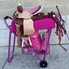 English /Western Rolling Saddle Stand Rack Stack Haul w/basket Purple Pink Black