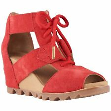 Sorel Joanie Lace Bright Red Womens Suede Wedges Peep-Toe Closed-back Shoes