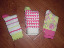 BNWOT GIRLS JOULES NEON LIME FLORAL,ZIG ZAG,STRIPE BAMBOO SOCKS SIZE 9-12 OR13-3