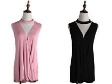 Plus Womens Casual Solid Sleeveless Choker V-Neck Layering Knit Tunic Shirt Top