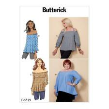 BUTTERICK SEWING PATTERN MISSES' EASY OFF-THE-SHOULDER TOPS XSM - XXL B6519