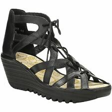 Fly London Yeli 719 Black Womens Leather Lace-Up Wedge Peep-Toe Sandals