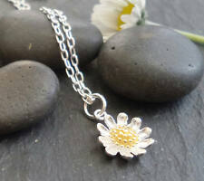 Sterling Silver Daisy necklace silver and gold daisy flower on chain