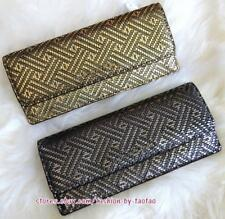 NWT MICHAEL KORS MONEY PIECES METALLIC LEATHER FLAT WALLET