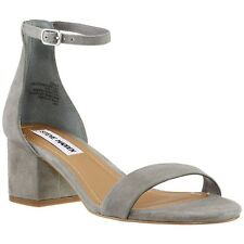 Steve Madden Irenee Grey Womens Suede Block Heel Ankle Strap Casual Sandals