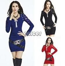 New Women Lace V-neck Long Sleeve Party Clubwear Slim Mini Dress Cocktail ENE