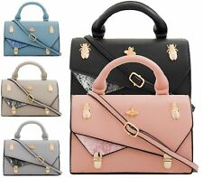 ladies FAUX LEATHER CON ASA Dorado Beatle Cruzado Mujer Hombro Bolso satchel