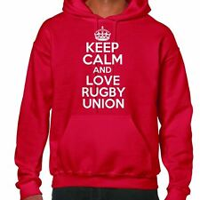 Keep Calm and love rugby Felpa con cappuccio