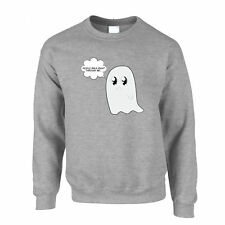 People Walk Right Through Me.. Cute Handdrawn Ghost Funny Pun Jumper Sweater