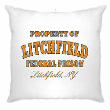 Property Of Litchfield Federal Prison Jail, Printed Slogan Design Cushion Cover