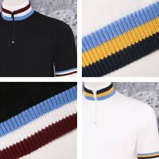 Art Gallery 60's Retro Mod Zip Collar Tri Triple Tipped Knit S/S Cycling Top
