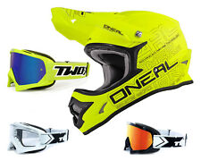 Oneal 3Series Casco da Cross Piatto Giallo Fluo con TWO-X Gara Motocross Enduro