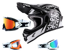Oneal 3series CASCO combustible Negro Blanco con two-x Carrera Gafas CASCO CROSS