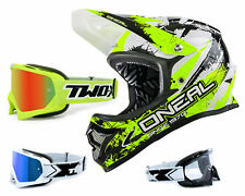 ONEAL Backflip SHOCKER CASCO DOWNHILL MTB GIALLO FLUO CON TWO-X OCCHIALI RACING