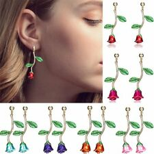 Rose Leaf 18K Yellow Gold Filled Dangle Drop Ear Stud Earrings Womens Jewellery