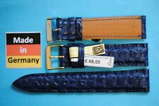 VERO Louisiana PELLE COCCODRILLO CINTURINO OROLOGIO Blu 20mm Made In Germany