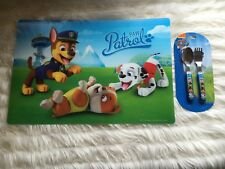 CHILDS KIDS PAW PATROL CHASE, RUBBLE, MARSHALL 3D DINNER, PLACEMAT & CUTLERY SET