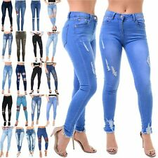 Womens Ladies Ankle Ripped Destroyed Distress Trousers Pants Denim Jeans Trouser