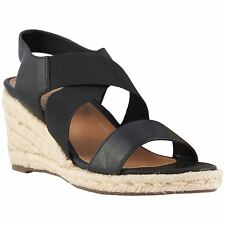 Vionic Talum Ainsleigh Black Womens Leather Slip-on Wedge Sandals
