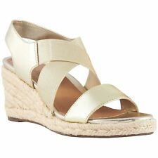 Vionic Talum Ainsleigh Champagne Womens Leather Slip-on Wedge Sandals