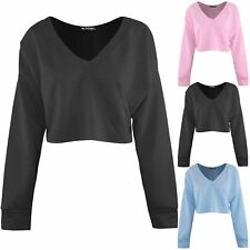 Womens Fleece Knit Oversized Loose Fit V Neck  Ladies Stretchy Raw Edge Crop Top