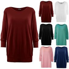 New Womens Ladies Oversized Baggy Plain 3/4 Cuffed Sleeve Round Neck Top T Shirt