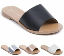 LADIES SANDALS FLAT HOLIDAY FAUX LEATHER EVENING SLIPPERS FLIP FLOP SUMMER SHOES