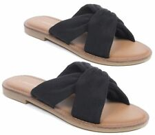 LADIES FLAT SLIPPERS MULES FAUX SUEDE PEEPTOE CASUAL SUMMER SANDALS BEACH SIZE